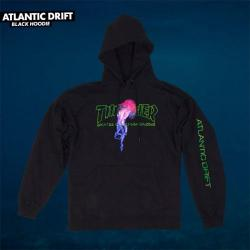 Thrasher - Mikina Thrasher Atlantic Drift Hood Black Spring 2018
